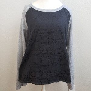 Harlowe & Graham Quilted Gray & Black Sweater Sz L